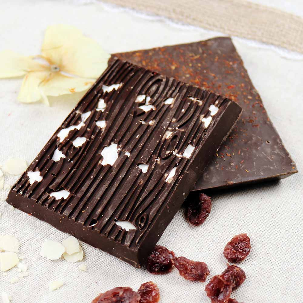 Cheeky Nilla almond cranberry safflower vegan dark chocolate
