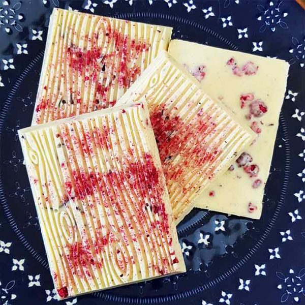 Raspberry vegan White Chocolate
